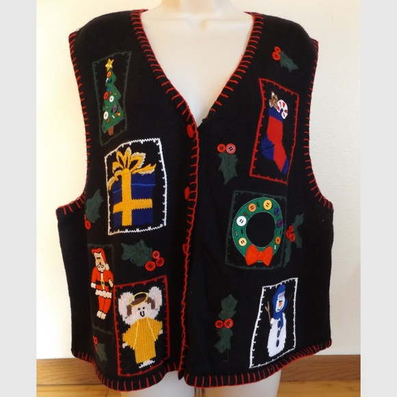 Vintage Sweaters - Plus 2X Christmas Ugly Sweater Vest